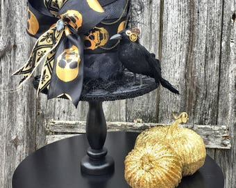 Halloween Arrangement, Halloween Top Hat Decor, Halloween Decor, Steampunk Top Hat Centerpiece, Steampunk Decor, Halloween Centerpiece