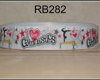 Gymnastics, 5 yards, sports ribbon, I love gymnastics ribbon, grosgrain ribbon, hair bow supplies, craft supply, 25mm