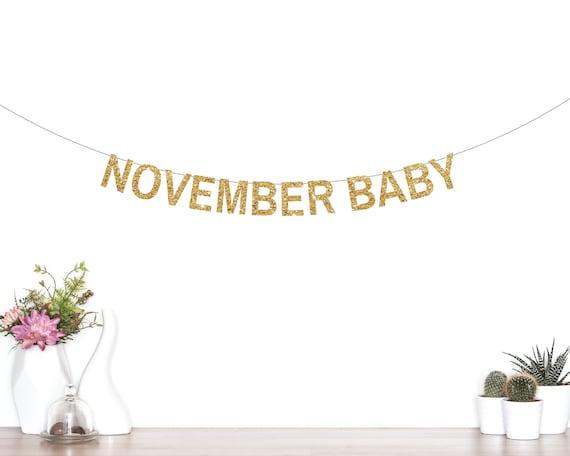 november baby banner baby shower banner glitter banner fall baby