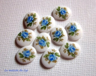 Cabochons porcelain blue pink decor, set of 10pcs 10mm x 8mm