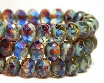 8x6mm Blue Purple Czech Beads, Purple Beads, Czech Rondelles, Purple Mixed Beads, Blue Purple Glass Beads, Blue Beads, Glass Beads, T-65D