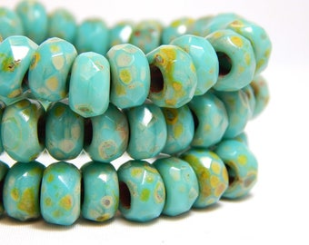 25 - 8x5mm Turquoise Roller Beads, Large Hole Beads, Roller Beads, Turquoise Czech Rondelles, Earthy Beads, Turquoise Rondelle Beads, T-30B