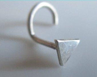 Nose screw, nostril stud, small nose stud, Triangle nose stud, Silver nose stud, tribal nose stud, nose pin, stud nose ring, tiny nose Stud