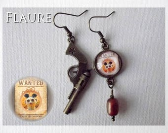 "cabochon earrings ""Wanted Suricat"""
