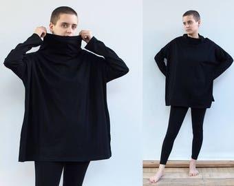 Oversized winter top, Women top, black grey, womens long sleeves shirt 100% cotton , high neck, turtle neck
