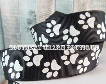"""3 yards of 1"""" black with white paw print grosgrain ribbon"""