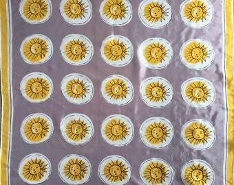 Vintage Vera Neumann Sun Face Scarf Square