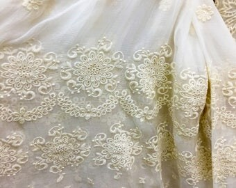 double sidesEmbroidery silk fabric,crinkle silk chiffon lace fabric in beige,wedding dress fabric-ZSME0028