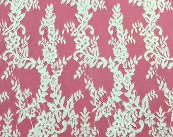 Chantilly corded Lace, Chantilly Lace Fabric, 59inches Wide for Veil, Dress, Costume, Craft Making-7285C