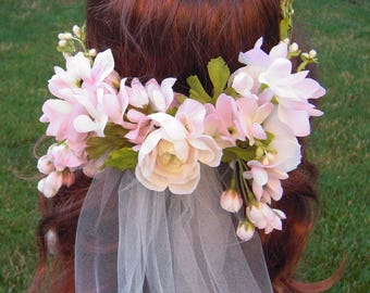Pink Flower Crown with Ivory Tulle Veil, Pink Floral Hair Wreath with Ivory Buds, Woodland Wedding Headpiece, Bridal Flower Crown - RB0179