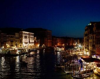 Venice Night Print, Italy Photography, Night Photogoraphy, View from Rialto Bridge, Grand Canal, Fine Art Print, 8x10, Wall decor