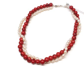 Holiday Gift, Holiday Jewelry, Short Necklace, Collar Necklace, Natural Necklace, Acai Beads, Freshwater Pearl Necklace, Red Necklace.Pearls