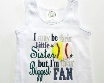 Baseball Sister - Softball  Sister - Little Sister - Biggest Fan - Sports Fan Gift - Sports Sayings - Game Day Shirt - Spirit Shirt