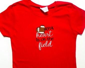Football Mom - Football Shirt - Ready To Ship - Heart Ball - Heart On Field - Gift For Mom - Game Day Shirt - Team Mom Shirt - Spirit Shirts
