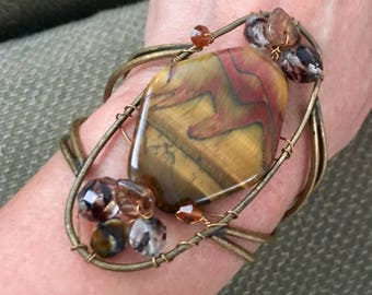 Gorgeous and Big Brass with Amazing Agate Cuff Bracelet.