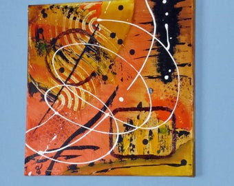 Acrylic Painting, Small Wall Art, Canvas Art – 'Autumn Breeze' Abstract by Kenneth Polisse Jr.