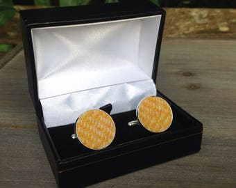 Harris tweed cuff links yellow herringbone wedding Father's Day groomsman gift