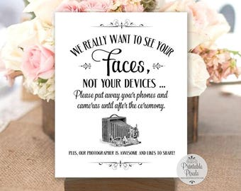 Unplugged Wedding Sign, Black Lettering, Printable, We Want To See Your Faces, Unplugged Ceremony (#UN15B)