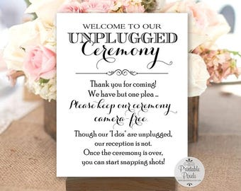 Unplugged Ceremony Printable Wedding Sign, Black Lettering, Instant Download (#UN12B)
