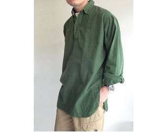 Vintage 1970s Swedish army collared pullover long shirt field relaxed lounge army military fieldshirt m59 undershirt