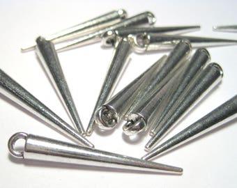 10pcs Antique Silver Charms Drops Bar Drop Stick Spike Pine Needles
