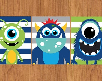 Monter Wall Art Lime Green Navy Blue Grey Monsters Green Navy Nursery Toddler Boy Room Set of 3 8x10 Matte Finish Prints (221)