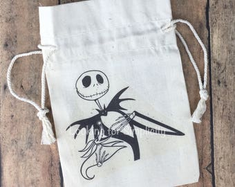 Jack and Zero Nightmare Before Christmas inspired Natural Cotton Canvas Muslin Bag or Pouch or re-usable Gift Bag