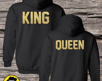 Couple Hoodies, King and Queen,  Matching Couple Hoodies (Set), Set of 2 Couple Hoodies, Matching hoodie 1003
