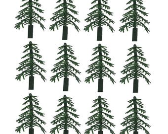 Green Trees for Cake and Cupcake Decorating 12 Count, Holiday Or Special Occasion Cake Decorating Trees, Green Tree Toppers For Cake Decor