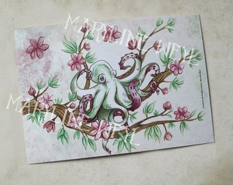 "postcard ""the book of strange creatures"" - Octopus and cherry"