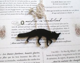 Black Fox silhouette necklace