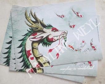 1 x card postcard Lake Dragon