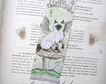 mushroom and green winged cat bookmark