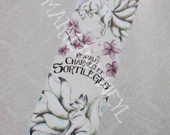 "Bookmark ""foxes, charms and spells"" white kitsune"