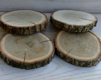 6 pieces 4.5 inches Oak Wood Coasters, Oak Wood Slices, Oak Drink Coaster, Rustic Table Decor, Rounded Oak Coasters