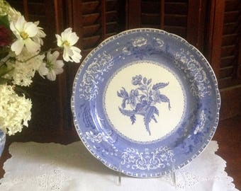 Blue transfer ware dinner plate by Copeland Spode in Camilla pattern.  A lovely clear blue that is gorgeous for table top or wall display.