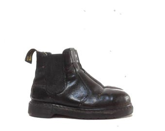 Vintage 90s Dr Martens Chelsea Boots / Black Patent Leather Dr Martens Ankle Boots / 90s Combat Grunge Goth Distressed Work Boots Shoes 6 8