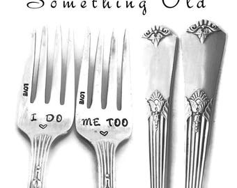 Stamped Wedding Forks, I Do Me Too Fork, Engagement Wedding Gift, Vintage Engraved Dinner Luncheon Fork with Heart Something Old