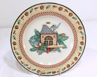 Sakura Debbie Mumm Winter Birds  Dessert / Salad Plates Bluebirds Birdhouse