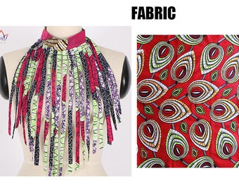 African Style Women Fashion Necklace Handmade Long Tassel Statement Choker Necklace Cotton Wax Fabric Jewelry