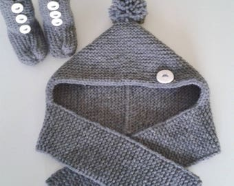 Hat baby + let us put on woolen baby intoxicate birth in 12 hand-knitted months with pompom and ornamental buttons