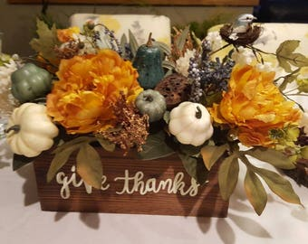 Fall Flower Arrangement, Fall Centerpiece, Faux Floral Arrangement, Tabletop Arrangement, Pumpkins,Gourds, Lotus, Yellow Peony, Fall Floral