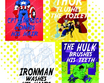 Set of Superhero Bathroom signs with Captain America, Ironman, The Hulk, and Thor