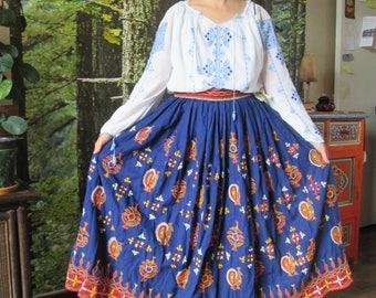 Vintage ,  indian , Hippie , Boho , Embroidered , mirror work , skirt