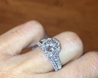Moissanite Halo Engagement Center Round 6.5mm Forever One Colorless Moissanite .35ct Diamonds Wedding Set Pristine Custom rings