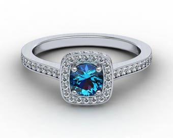 Alexandrite Diamond Engagement Ring .31ct Brilliant Round Diamonds .50ct Round Alexandrite Center Square Cushion Setting Halo Ring