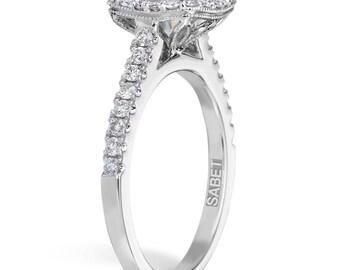 Moissanite Engagement Ring 1.20ct Round Forever One Moissanite Ring  .41ct Natural Diamond Halo Ring 18k white gold Pristine Custom Rings