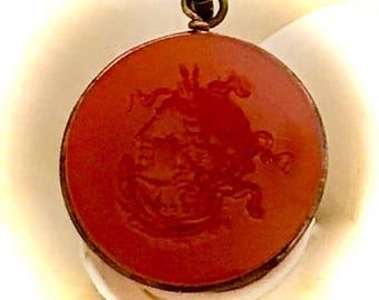 Victorian watch fob gemstone carnelian intaglio Roman carved emperor pendant fob late 1890's - 1900's
