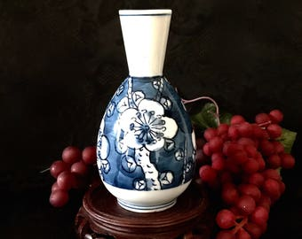 Japanese blue and white porcelain floral bud vase