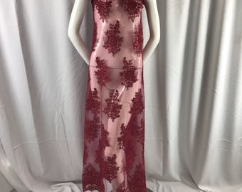 Burgundy flower lace corded and embroider with sequins on a mesh. Wedding/bridal/prom/nightgown fabric-apparel-fashion-Sold by the yard.